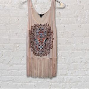 """About A Girl"" fringe boho tank top, small"